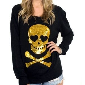 Wildfox sweater with gold sequin skull & crossbone